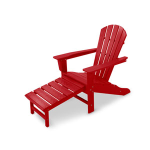 South Beach Sunset Red Ultimate Adirondack with Hideaway Ottoman