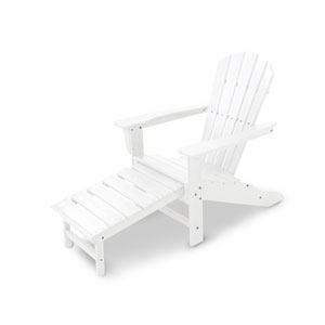 South Beach White Ultimate Adirondack with Hideaway Ottoman