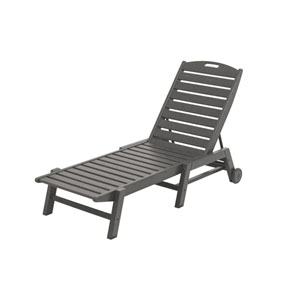 Nautical Wheeled Chaise - Stackable in Slate Grey