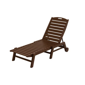 Nautical Wheeled Chaise - Stackable in Mahogany