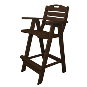 Nautical Mahogany Bar Height Chair