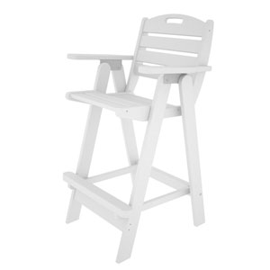 Nautical White Bar Height Chair