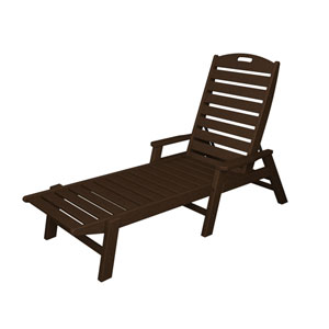 Nautical Mahogany Chaise w/ Arms - Stackable