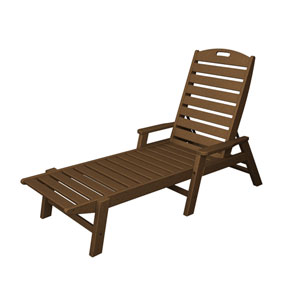 Nautical Teak Chaise w/ Arms - Stackable