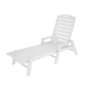 Nautical White Chaise w/ Arms - Stackable