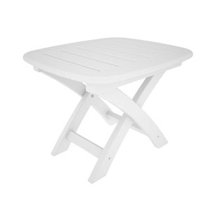 Nautical White 21 Inch x 18 Inch Side Table