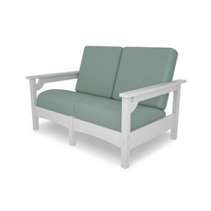 Club Settee in White/Spa
