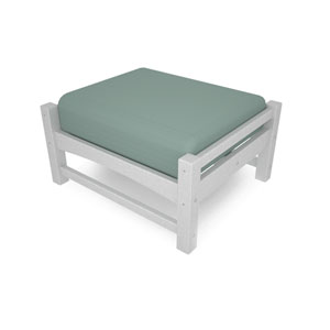 Club Ottoman in White/Spa