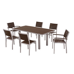 Euro Seven-Piece Dining Set in Textured Silver Aluminum Frame/Mahogany