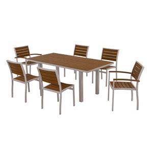 Euro Seven-Piece Dining Set in Textured Silver Aluminum Frame/Teak