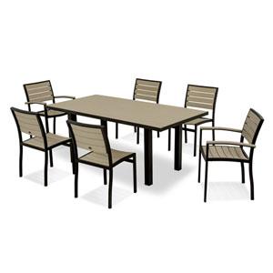 Euro Seven-Piece Dining Set in Textured Black Aluminum Frame/Sand