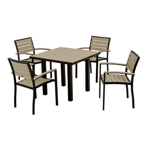 Euro Five-Piece Dining Set in Textured Black Aluminum Frame/Sand