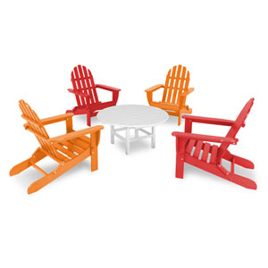 Classic Sunset Red and Tangerine Adirondack Five Piece Conversation Seating Set