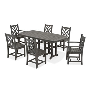 Chippendale Seven-Piece Dining Set in Slate Grey