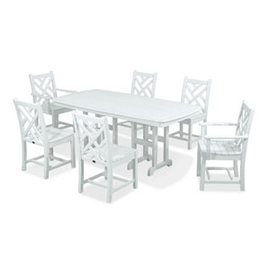 Chippendale Seven-Piece Dining Set in White
