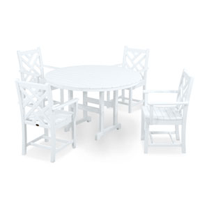 Chippendale Five-Piece Dining Set in White