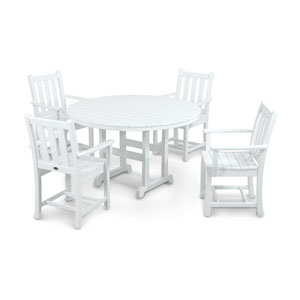 Traditional Garden Five-Piece Dining Set in White