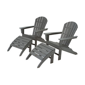 South Beach Four-Piece Adirondack Set in Slate Grey