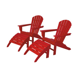 South Beach Four-Piece Adirondack Set in Sunset Red