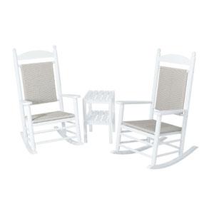 Jefferson Three-Piece Woven Rocker Set in White Frame/White Loom