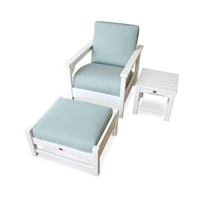 Club Three-Piece Deep Seating Set in White/Spa
