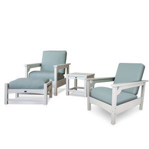 Club Four-Piece Deep Seating Set in White/Spa
