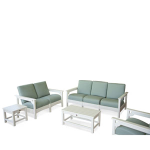 Club Five-Piece Deep Seating Group in White/Spa