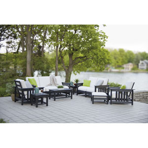 Mission 8-Piece Deep Seating Group in Black/Bird Eye