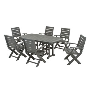 Signature Seven-Piece Dining Set in Slate Grey