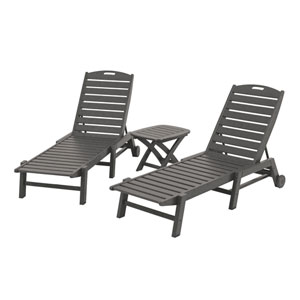 Nautical Three-Piece Chaise Set in Slate Grey