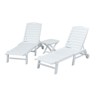 Nautical Three-Piece Chaise Set in White