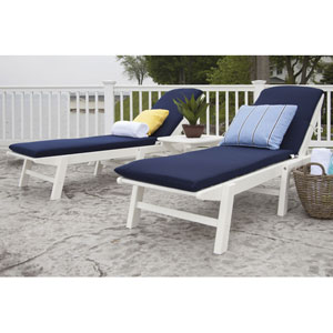 Nautical Three-Piece Chaise Set with Cushions in White/Navy