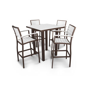 POLYWOOD® Euro™ 5-Piece Bar Set in Textured Bronze / White