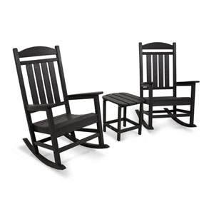 Presidential Rocker Black Three Piece Seating Set