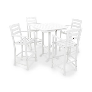 POLYWOOD® La Casa Café 5-Piece Bar Set in White
