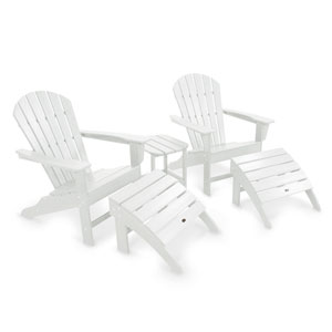 South Beach White Adirondack Five Piece Seating Set