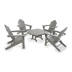 Long Island Slate Grey Adirondack Five Piece Conversation Seating Set