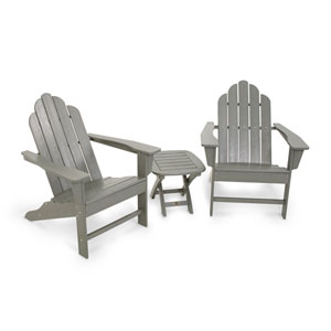 Long Island Slate Grey Adirondack Three Piece Seating Set