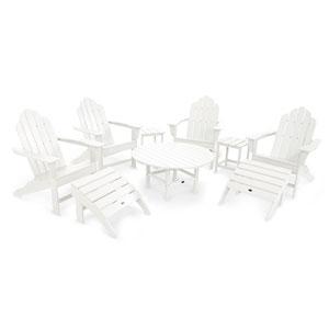 Long Island White Adirondack Nine Piece Conversation Seating Set