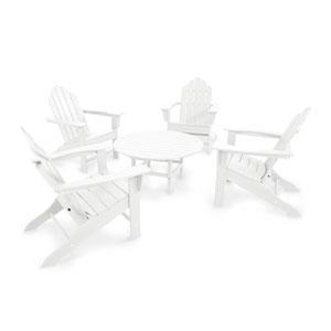 Long Island White Adirondack Five Piece Conversation Seating Set