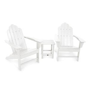 Long Island White Adirondack 108-Inch Three Piece Seating Set