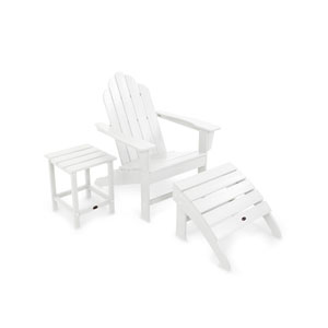 Long Island White Adirondack 78-Inch Three Piece Seating Set