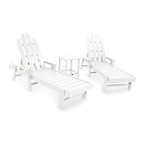 Long Island White Chaise Three Piece Seating Set