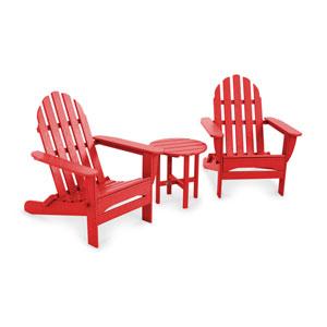 Sunset Red Classic Folding Adirondack Three Piece Seating Set