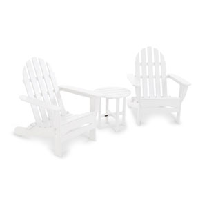 White Classic Folding Adirondack Three Piece Seating Set