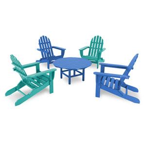 Classic Pacific Blue and Aruba Adirondack Five Piece Conversation Seating Set