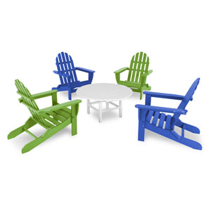 Classic Adirondack Pacific Blue and Lime Five Piece Conversation Seating Set