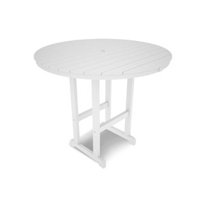 La Casa Café White Round 48 Inch Bar Height Table