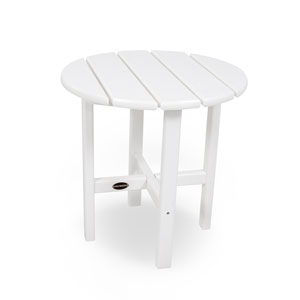 White Round 18 Inch Side Table