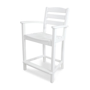 La Casa Café White Counter Height Arm Chair